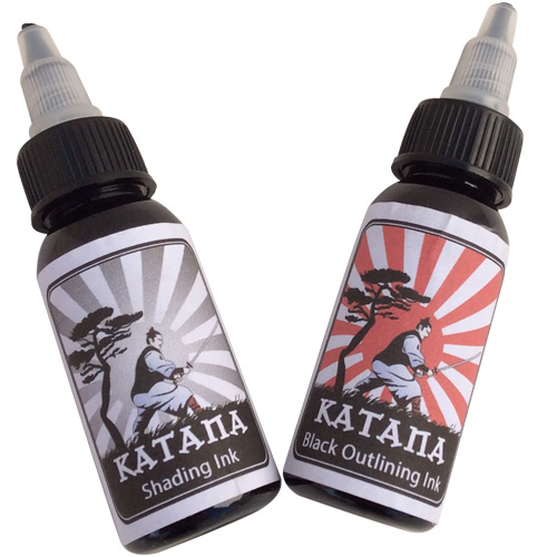 Katana black outlining shading tattoo ink set katana for Cheap tattoo ink