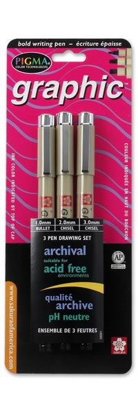 Pigma Graphic 3 pack - BLACK ink