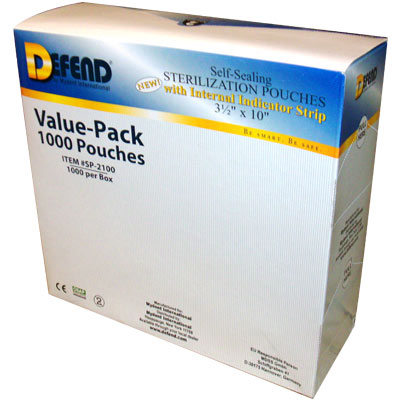 "1000 Self-Sealing Sterilization Pouches 3.5"" x 10"""